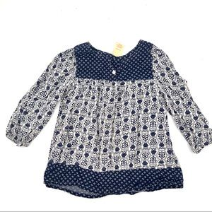 Faded Glory Girls Blue & White Owls Peasant Blouse